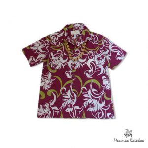 AL029 Dark Red Aloha Shirts