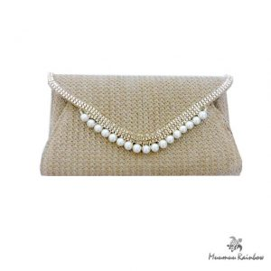 BG015 Pearl Accent Clutch Bag