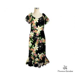 H072 Plumeria Short Sleeve Dress