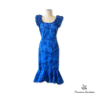 OR002 Blue Ruffle Sleeve Dress