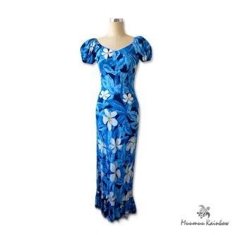 PR005 Blue White Pulumeria Dress