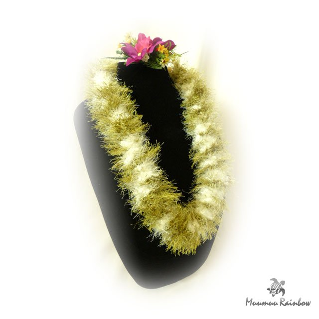 Flei005 Green & White Eyelash Lei