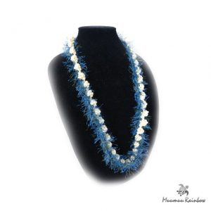 Flei006 Blue & White Eyelash Lei