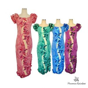 H024-Lei Straight Long hibiscus dress