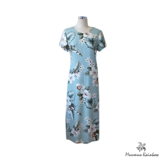 H032 Light Green Hibiscus Dress