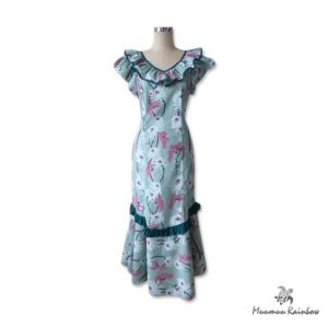 H039 White and Pink Flowers Muumuu