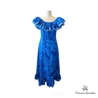 H060 Ruffle Blue Dress