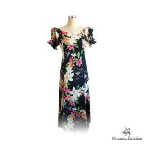 H072L Plumeria Half Sleeve Dress