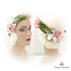 Haku008 White Pearl Accent Flower Crown