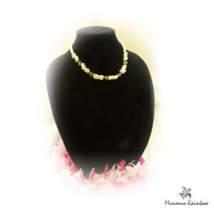N004 Shell & Green Bead Necklace