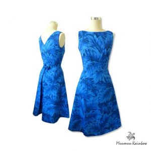 OR007 Blue Leafy Plain Dress