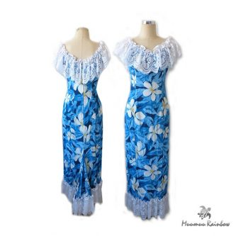 PR006 Blue White Pulumeria Lace Dress