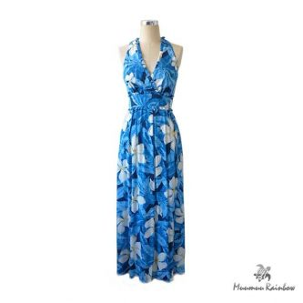 PR007 Blue White Pulumeria Dress