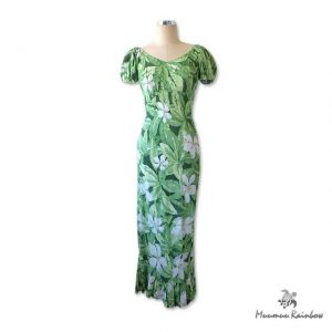 PR009 Fresh Green Plumeria Dress