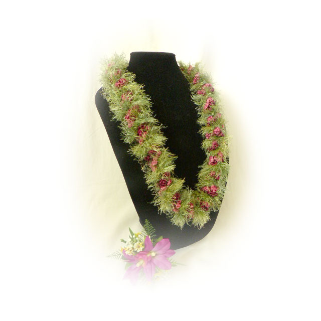 FL003 Rosy Green Eyelash Lei
