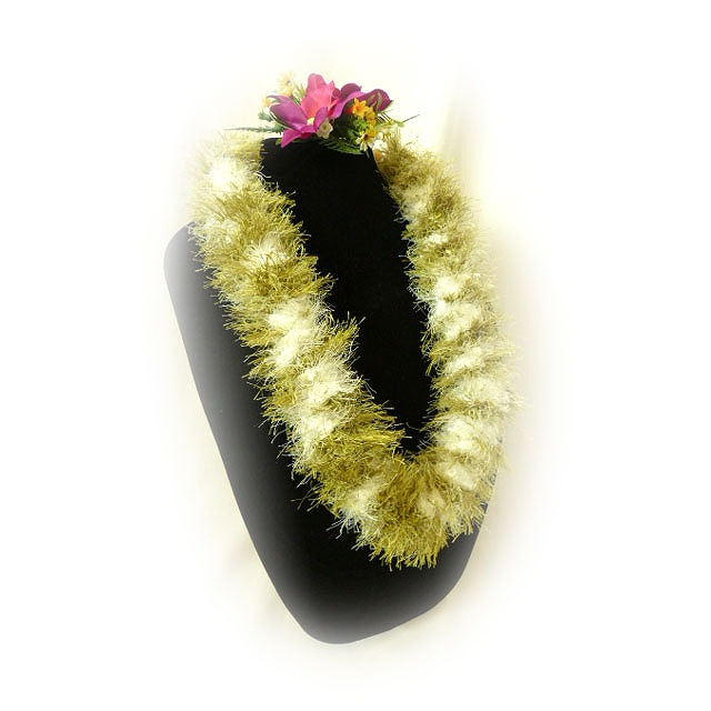 FL005 Green & White Eyelash Lei