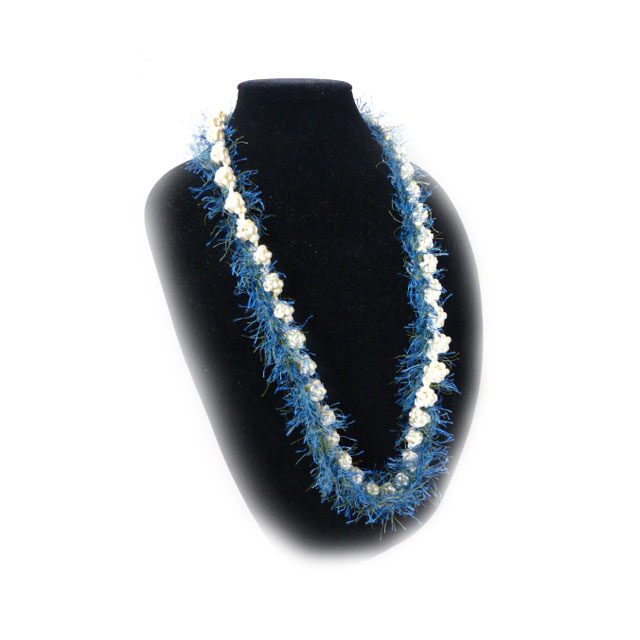 FL006 Blue & White Eyelash Lei