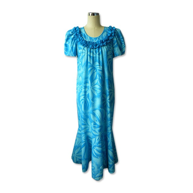 H044 Sky Blue Muumuu Dress