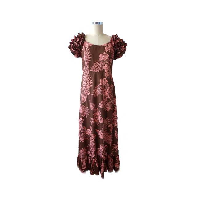 H058 Brown Pink Haibiscus Dress
