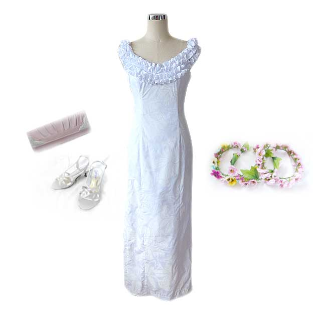 PR-W005 Sweet Heart Frill White Dress