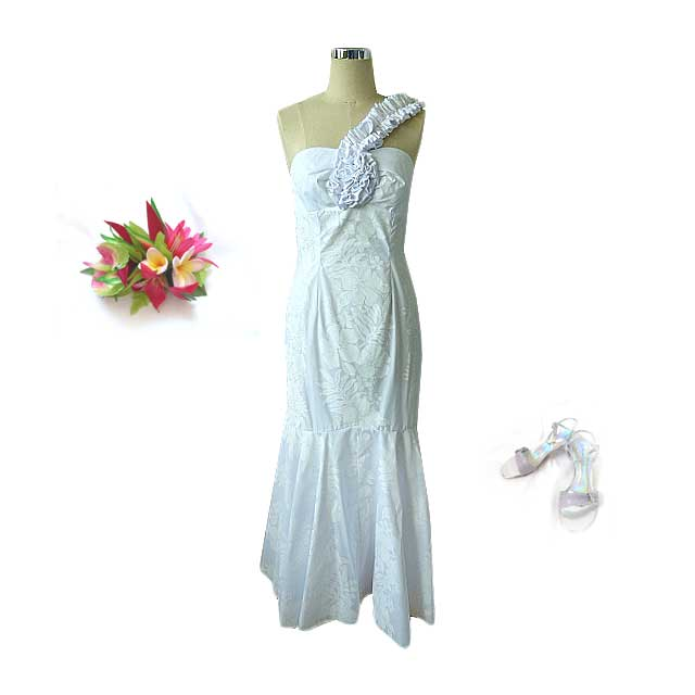 Rc w002 one shoulder hawaiian wedding dress for Honolulu wedding dress rental